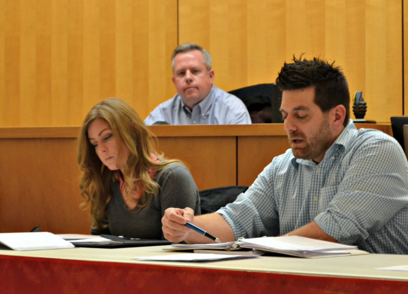 From left, Hillsboro city council members Rebecca Wilkin, Lee Koogler and Justin Harsha are pictured at the Feb. 13 council meeting. (HCP Photo/Caitlin Forsha)