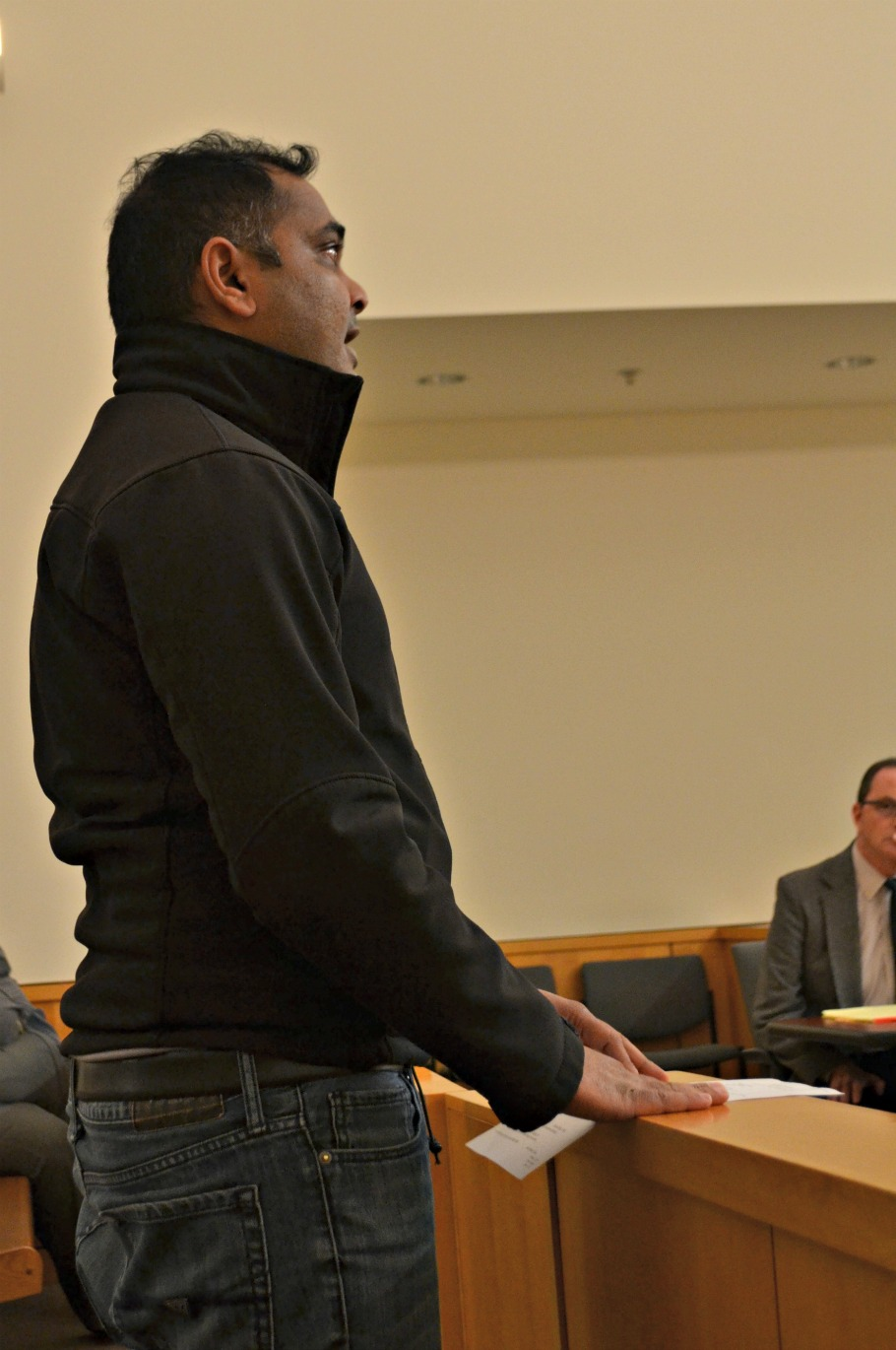 Greystone Motel owner Minish Patel speaks to city council. (HCP Photo/Caitlin Forsha)