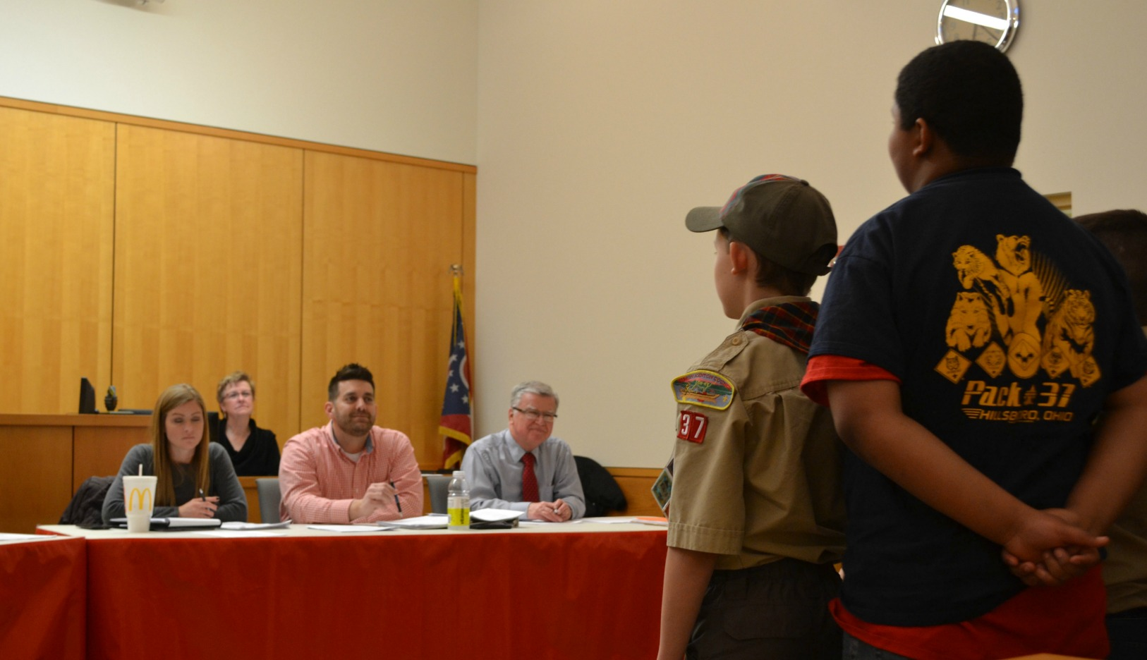 From left: Council member Rebecca Wilkin, clerk Debbie Sansone and council members Justin Harsha and Bill Alexander listen to a request by local Cub Scouts. (HCP Photo/Caitlin Forsha)