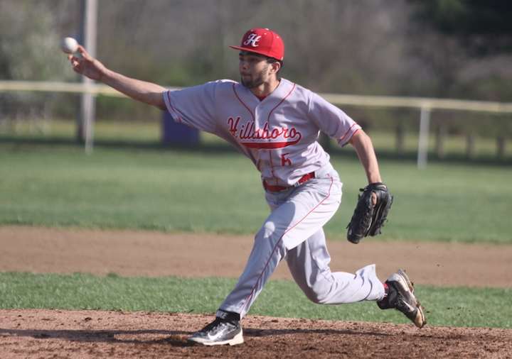 Hillsboro's Sajoun Jones is shown pitching in a relief during Wednesday's game in Greenfield. (HCP Photo/Jim Jones)