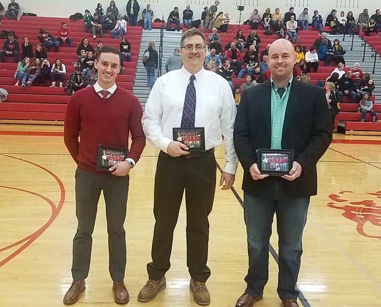 The 2003 Hillsboro boys golf team was inducted into the Hillsboro High School Athletic Hall of Fame Saturday. Pictured (l-r) are team member Adam King, head coach Dan Spidel and team member Nathan Boatman. (HCP Photo/Stephen Forsha)