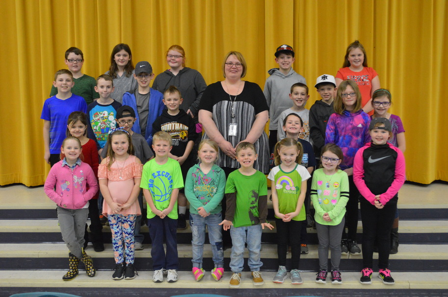 Pictured are: (front row, l-r) Lyza Sloan, Taylor Henderson, Connor Faust, Josie Cordrey, Crosby Garman, Becca McLaughlin, Ally Carraher and Gabriella Crowe; (second row, l-r) McKynlei Cramton, Jayden Peters, Aric Slack, principal Mrs. Godby, Brayden Hill, Jamie Hively and Addy Carraher; (third row, l-r) Noah Lang, Gage Thompson, Derek Smith, Brayden Warne and Quin Wells; (back row, l-r) Lincoln Allen, Abi Shepherd, Kira Stratton, Cole Wells and Gabi McCrobie. Not pictured: Carter Biron, Ava Doughman, Shaylyn Mozingo and Avery Shope. (Submitted photo)