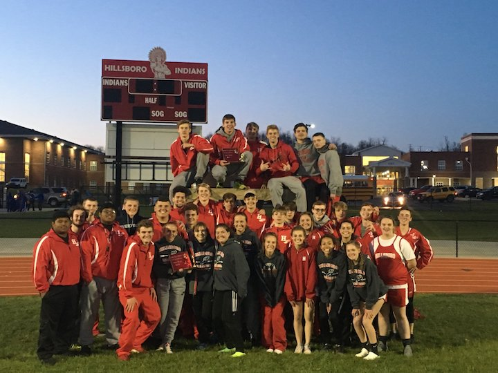 Members of the Hillsboro boys and girls track teams are pictured following their win at the Hillsboro Invitational. (Submitted photo)