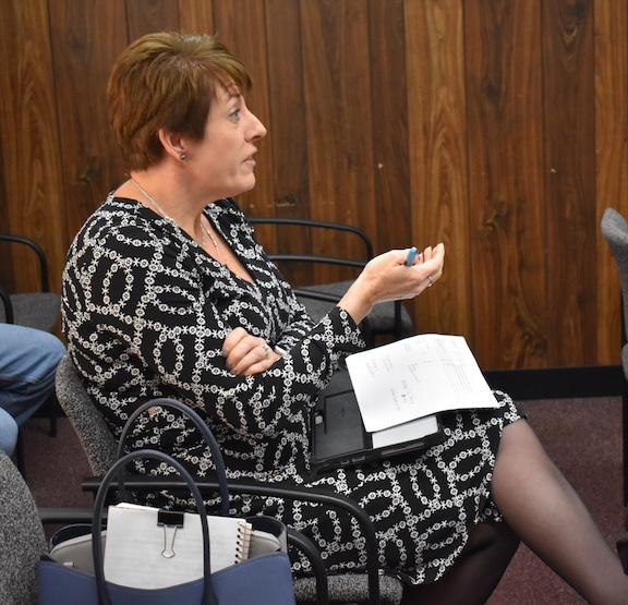 Highland County Job & Family Services director Katie Smith is pictured during her report to county commissioners Wednesday.