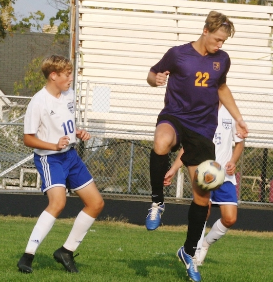 McClain junior Bryson Badgley (No. 22) controls the ball during Thursday's match vs. Chillicothe. (Photo by Jim Jones)
