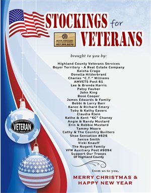 Stockings for Veterans sponsors appreciated